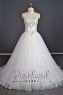 Parkland Bridal Ambrosia - princess gown! A full tulle skirt with a sweetheart neckline and luxury beaded bodice.