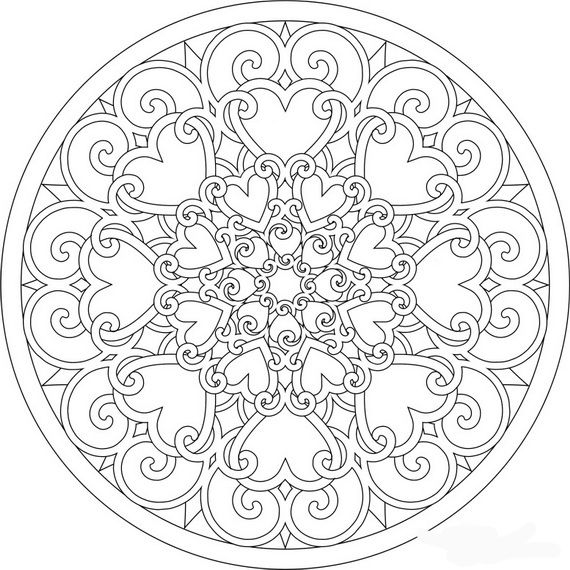 find this pin and more on color me by carolholaday heart mandala printable free coloring page