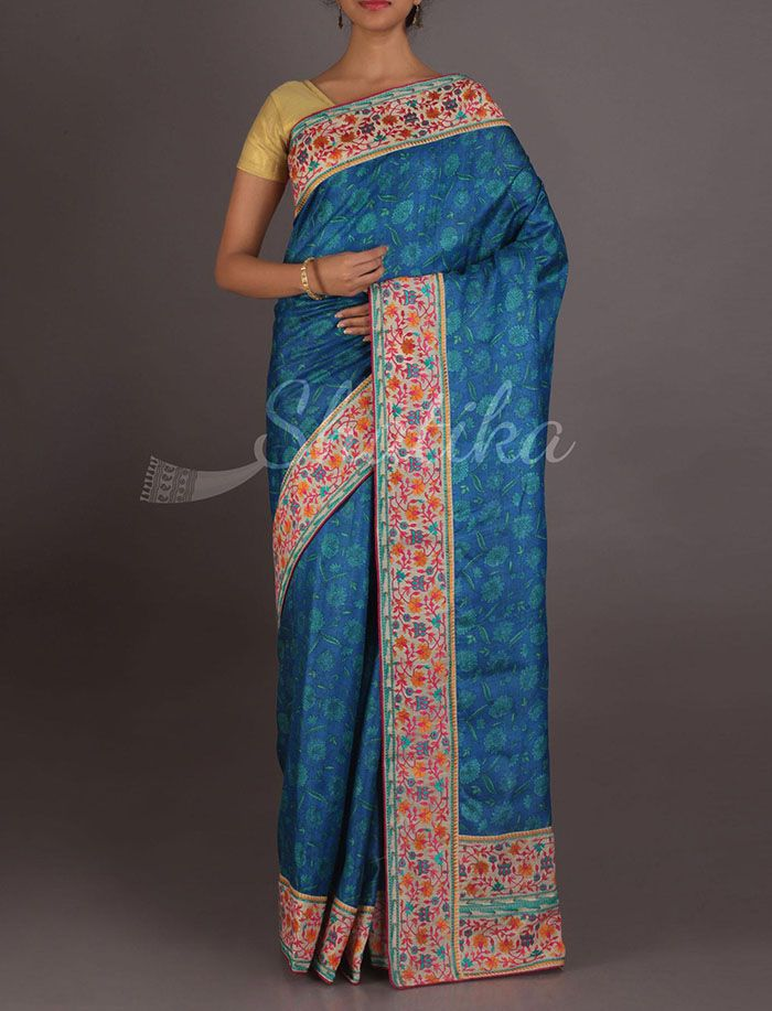 Mehak Cool Bloom On Border Exclusive Hand Painted Silk Saree