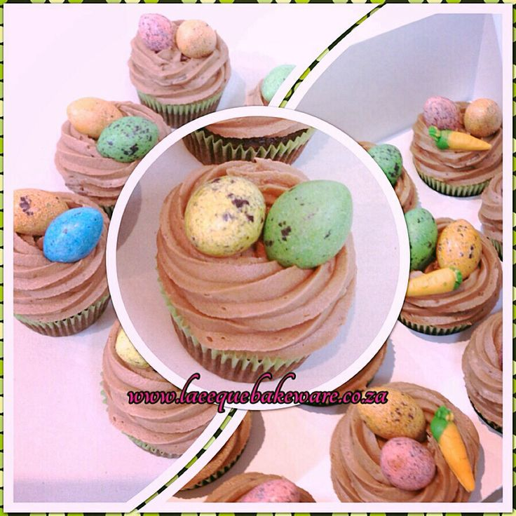 Giant speckled eggs cupcakes