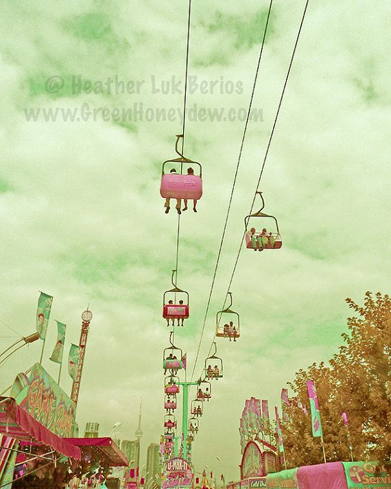 Carnival Photography - Sky Ride - Wall Decor - Fine Art Photography Print - Mint, Teal, Pink, Yellow, Green