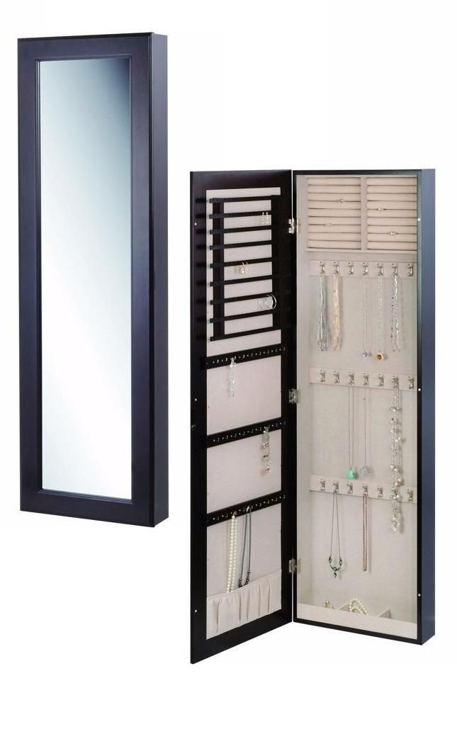 This sophisticated full-length wall mount mirror stores all of your important jewelry and adds style to any room. Complete with earring holders, bracelet and necklace hooks, ring rolls and storage compartments.