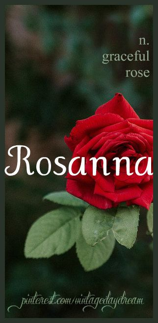 Baby Girl Name: Rosanna. Meaning Graceful Rose or Gracious Rose. Origin: Latin; Italian; English. https://www.pinterest.com/vintagedaydream/baby-names-by-me-vintagedaydream/