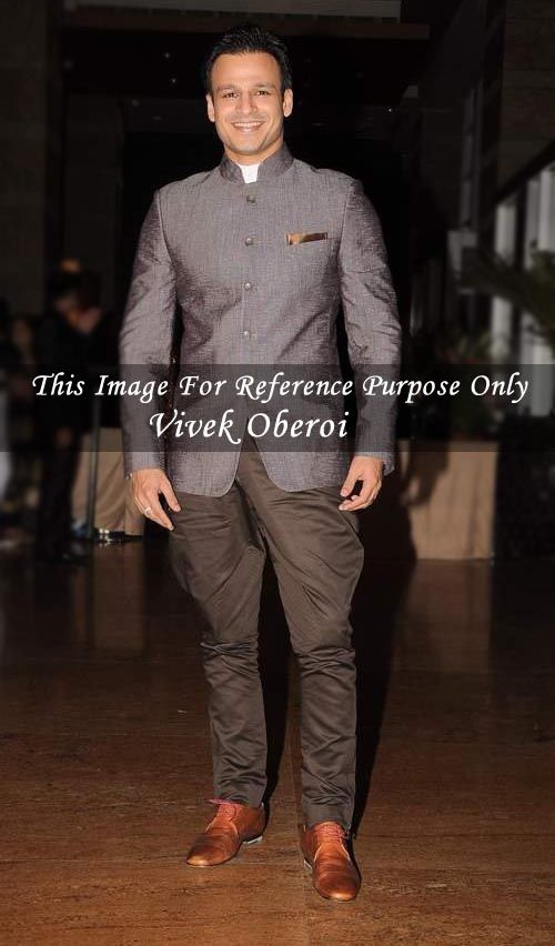 Vivek oberoi in gray color polyester fabric gray jodhpuri coat with brown color elegant jodhpur style cotton pant. The final product will be only the replica of shown bollywood image. Dryclean only.