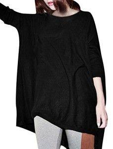 Allegra K Ladies Loose Batwing Oversize Tops Round Neck Blouse