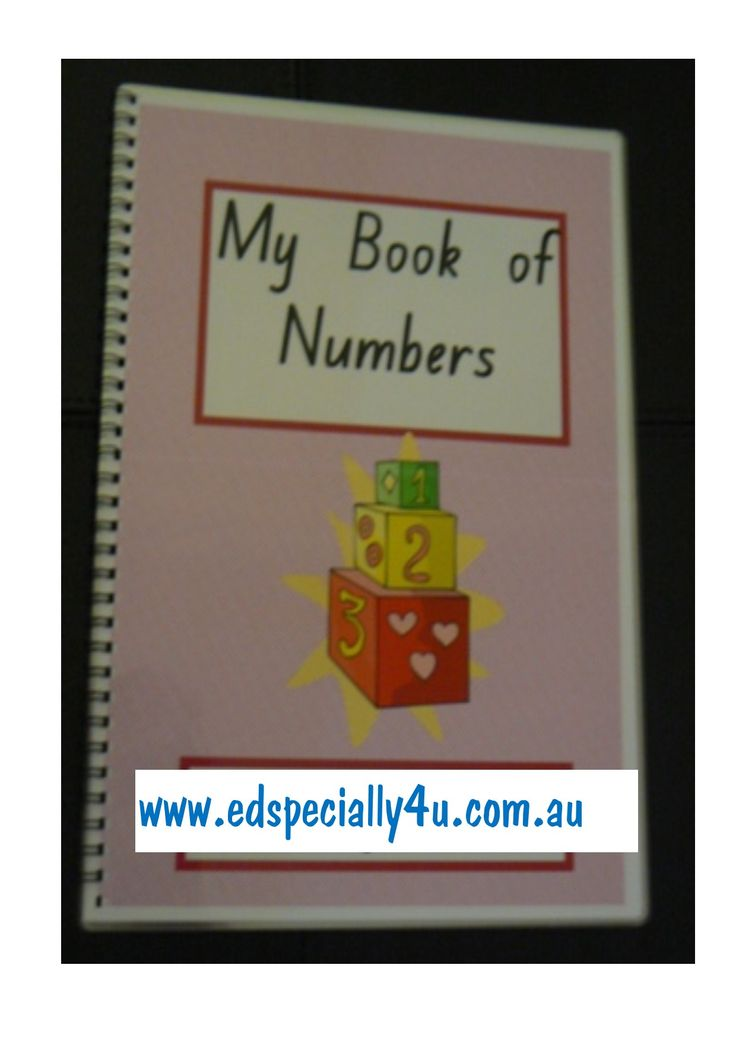 My book of numbers - includes all of the numbers 1-20 as well as graphic and word representations of the numbers, in a write on/wipe off booklet to be used over and over again.  Personalised and fun to use, this resource reinforces graphics and colours in our number resources.  www.edspecially4u.com.au