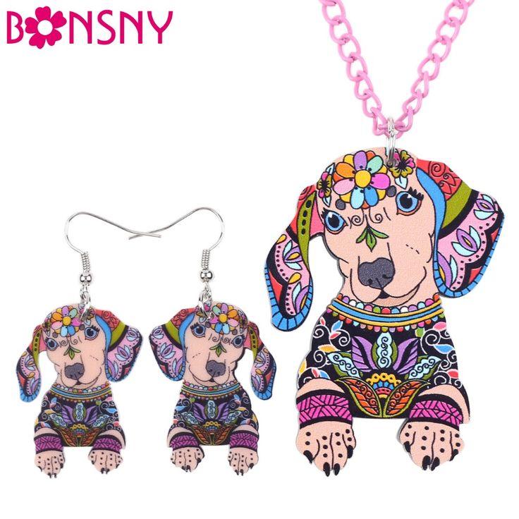Bonsny Marca Dachshund Perro Collar Pendientes Sistemas de la Joyería de Acrílico Declaración Collar Gargantilla de Joyería de Moda de Noticias Para La Mujer Chica