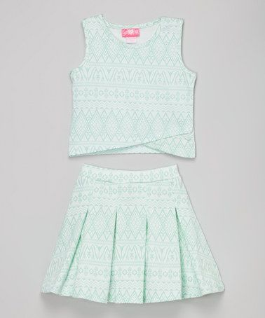 Love this Mint Geometric Tulip-Hem Top & Pleated Skirt - Toddler & Girls on #zulily! #zulilyfinds