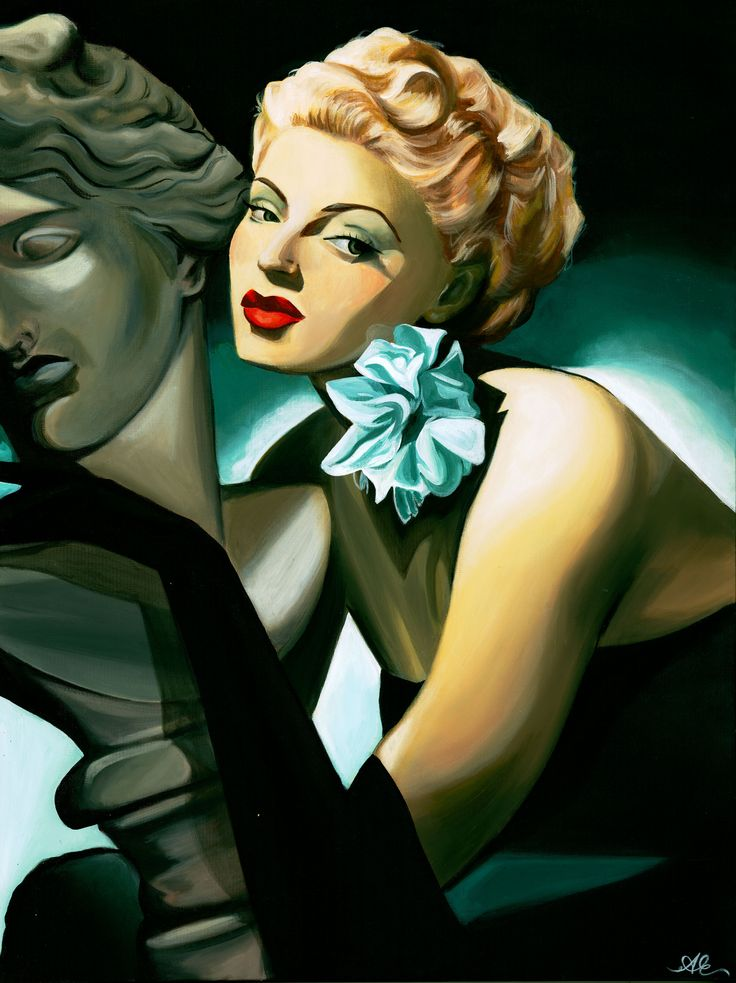 This art deco and cubist painting is done in acrylic and it is about a beautiful actress named Lana Turner. This painting is available only as a print at www.escalanteart.com.au
