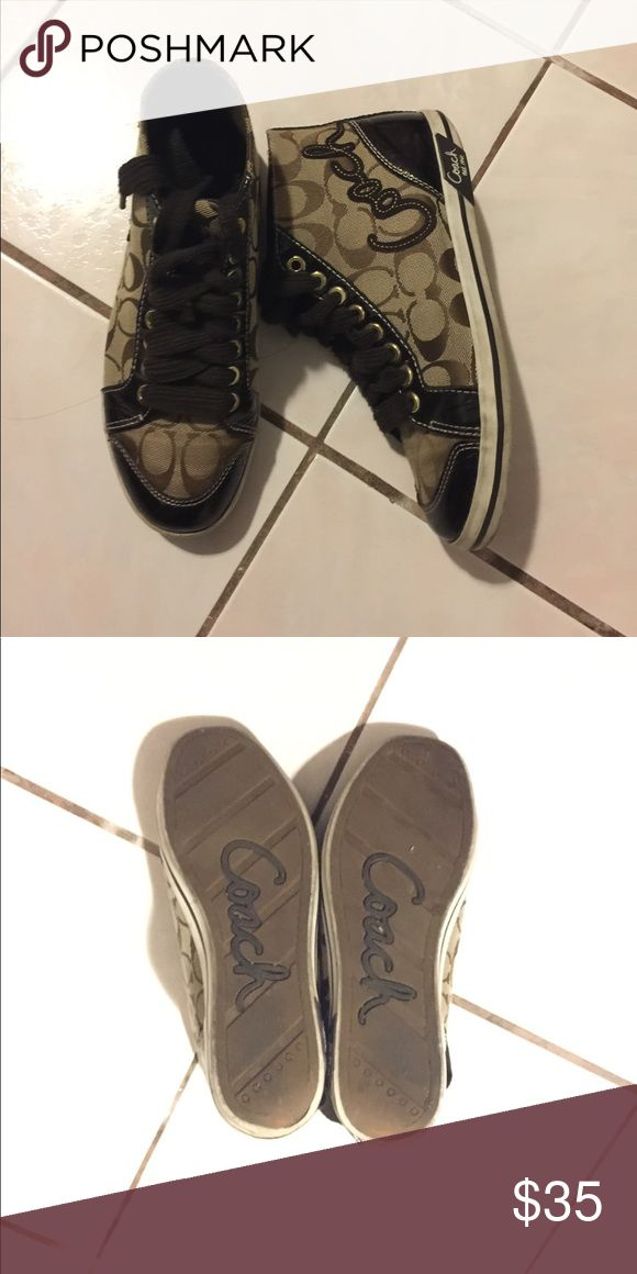 Coach Sneakers Chocolate brown color. Worn only a few times, super comfortable & in great condition. No noticeable scuffs or dirt. Coach Shoes Sneakers