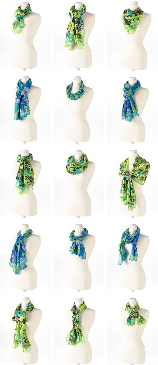 Different ways to tie a scarf. Scarves can make your look go from drab...to FAB!