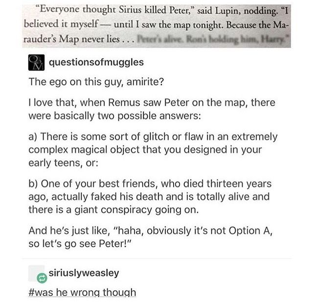 I'm still comvinced that Remus probably still had doubts about the whole thing and that's why he believed Sirius so easily.