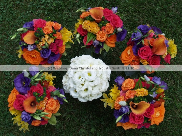 [Wedding: Dana Christofano & Justin Smith]Bride's Bouquet - white lisianthus; Bridesmaid's Bouquets - orange and pink roses and spray roses, yellow alstroemeria, purple lisianthus, green cymbidium orchids, green hypericum berries, celosia (Flowers by Allison Davies of Floral Occasions) Summer/August wedding