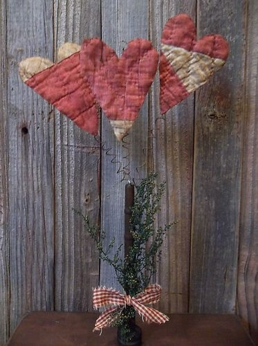 Primitive Quilt Hearts on Rusty Wire in Old Vintage Wood Bobbin Valentine'S   eBay