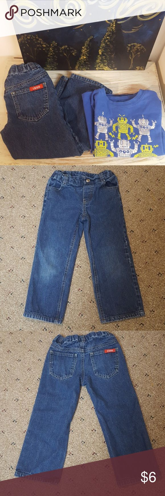 4T Boys Jeans and Long Sleeve Shirt IZOD boys 4T jeans in EUC. 4 pockets. Adjustable elastic band. Jumping Beans long Sleeve 4T shirt with dancing robots. Other