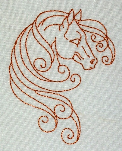 Wild Horses Redwork Package of 10 $6.95