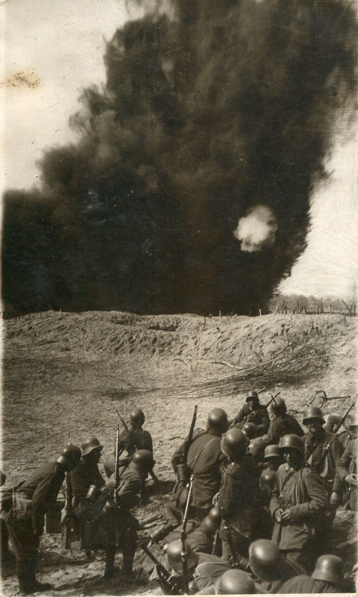 WW1.  German Squad reacting to nearby heavy explosion. - greatwarimages.com