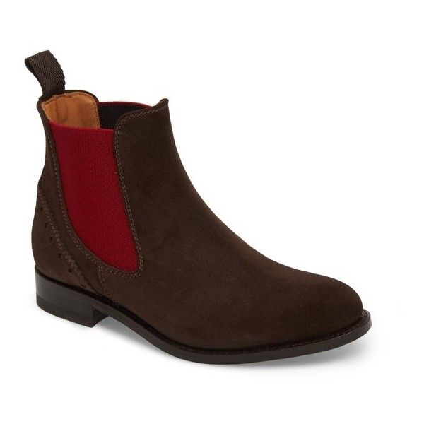Women's Ariat Benissa Lux Chelsea Boot ($150) ❤ liked on Polyvore featuring shoes, boots, brown suede, chelsea ankle boots, brown chelsea boots, brown boots, suede beatle boots and balmoral boots
