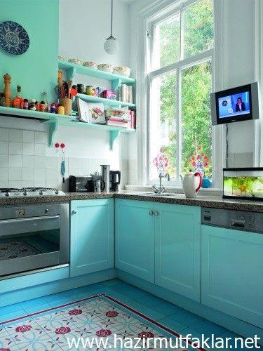 mavi mutfak dolapları 2015