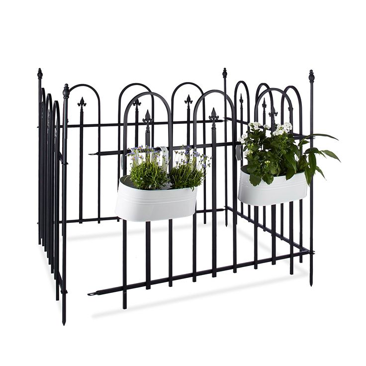 Fabulous Relaxdays GOTH Metal Garden Fence Complete Set m Powder Coated Iron