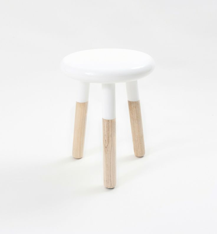 Malmo White Coloured Wooden And Timber Stool And Side Table