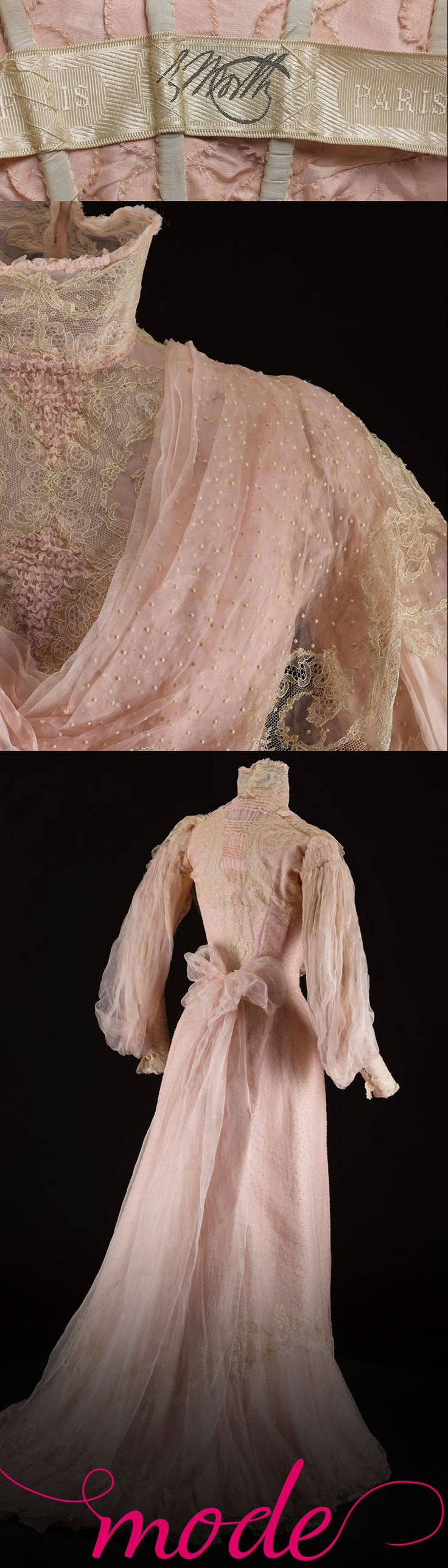 Charles Frederick Worth is known as the father of haute couture. His designs, like this beautiful organza confection, are renowned for their lavish fabrics and trimmings and attention to fit.  Find out more about this dress and many more at http://www.nms.ac.uk/mode. Mode is your personal, portable guide to the new Fashion and Style gallery at the National Museum of Scotland. Luxuriate in couture details with close-up images and 360 views, and discover the history of fashion.