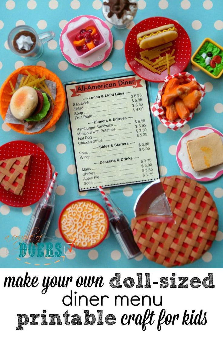DIY doll-sized menu instructions with printable - great QUICK craft for kids who love American Girl Dolls!
