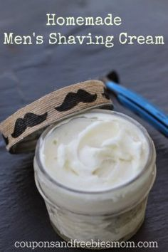 Homemade Shaving Cream with only 6 simple ingredients! Stop wasting money on shaving cream! DIY Easy Homemade Shaving Cream for men or women! You'll wonder why you never made this before! Rich, all natural, & skin-softening! Smells wonderful... it's the perfect homemade gift idea. Check out this simple recipe right now!