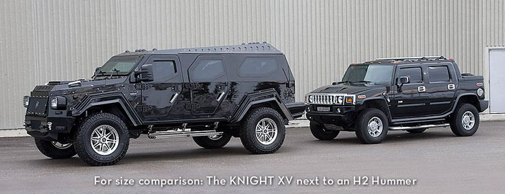 Conquest Vehicles' Knight XV next to a Hummer H2...yes, I want the Knight XV