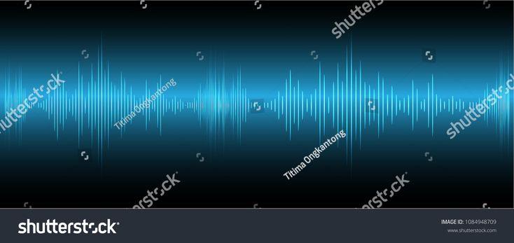 Sound waves oscillating dark blue light, Abstract technology background. Vector. #Sponsored , #AFFILIATE, #dark#blue#oscillating#Sound