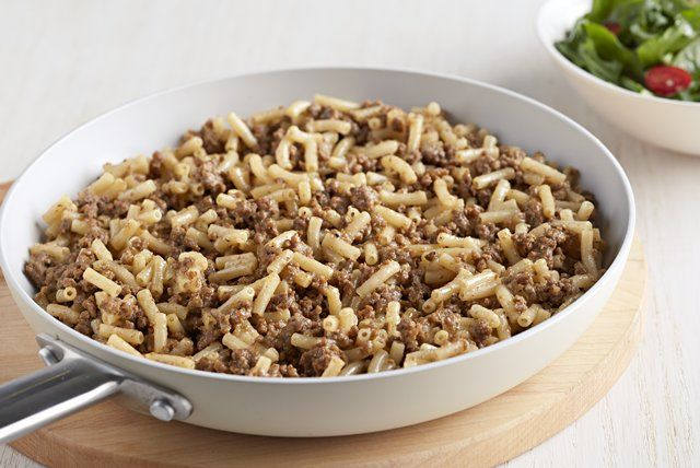Easy Cheesy Hamburger Mac. I made this last night for dinner with an off brand and put 2 slices of American chrese and it was really good. There were no leftovers and really easy and super fast to make.