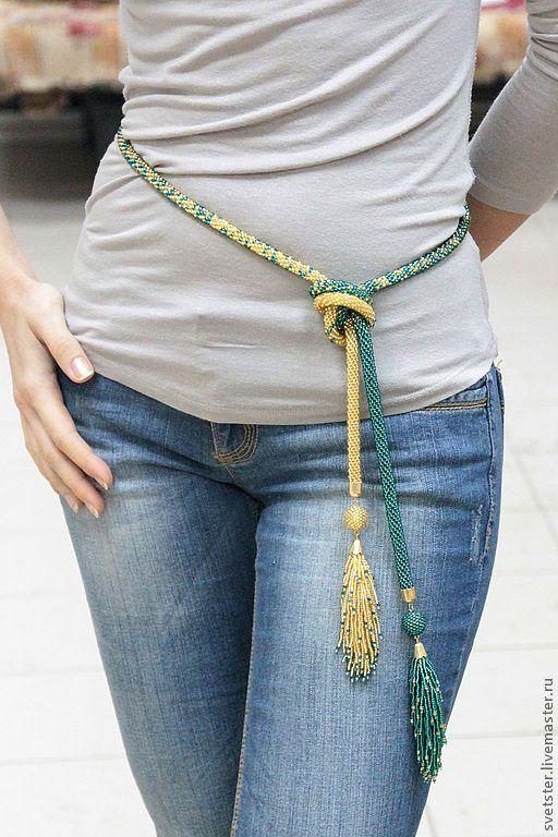 Купить Лариат золотистый с кистями-хвостами - лариат, лариат из бисера, вязаный лариат, пояс, подарок