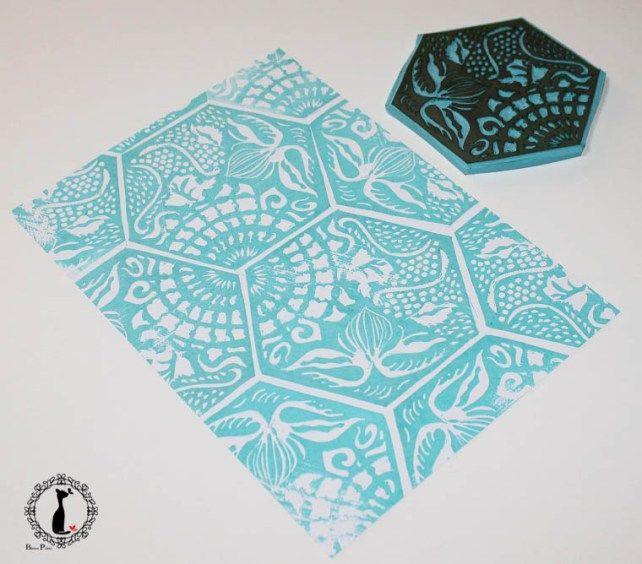 Handcarved hexagonal patterned stamp via Cinderella at Midnight