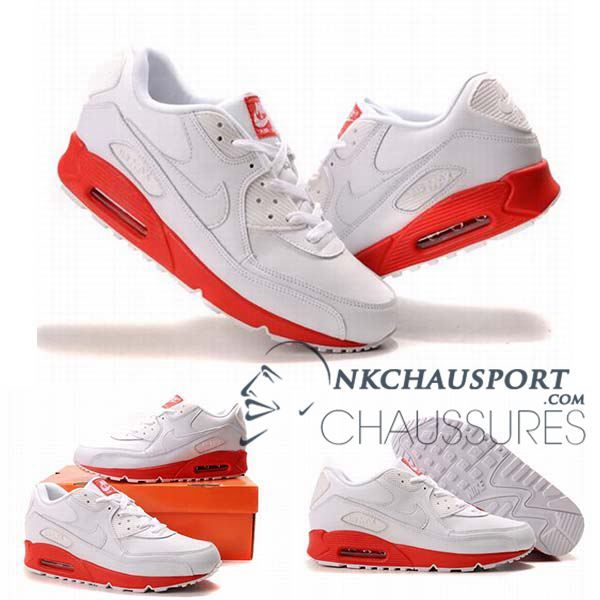 Nike Air Max 90 | Meilleur Chaussures Running Homme Blanche Rouge-2