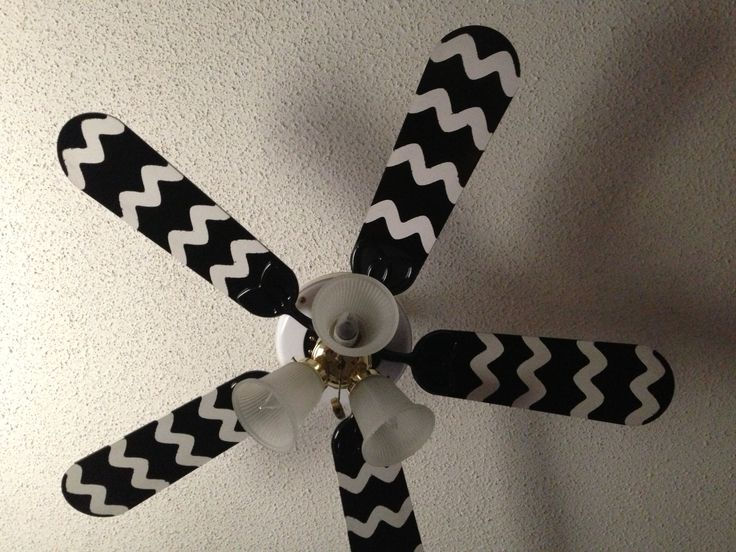 Cheap ceiling fan redo black spray paint and tape