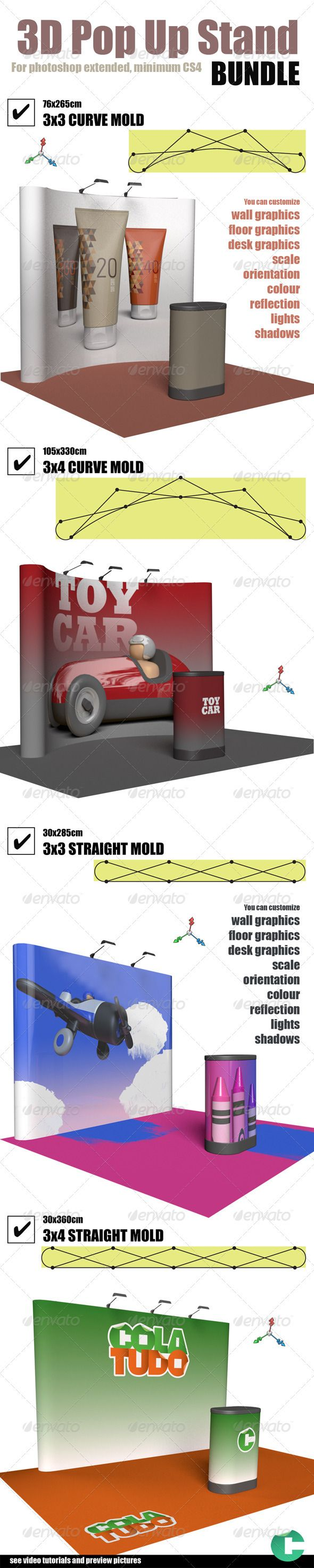 3d Object - Pop Up Stand Bundle  #GraphicRiver         This product is compatible with Adobe Photoshop CS4 Extended and CS5 Extended  	 You can customize – wall graphics – floor graphics – desk graphics – Background – resize – scene orientation, unlimited views – material color – material reflection – lights direction – shadows hard or soft  	 You can hide any part of this scene, by setting opacity to zero, in the 3d materials panel.  	 PDF tutorial included in this set  Video tutorial at…