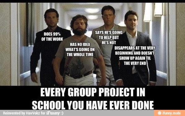 Honestly, I had a couple of friends who held up their end on Group projects in college but other than that, this is #SpotOn.