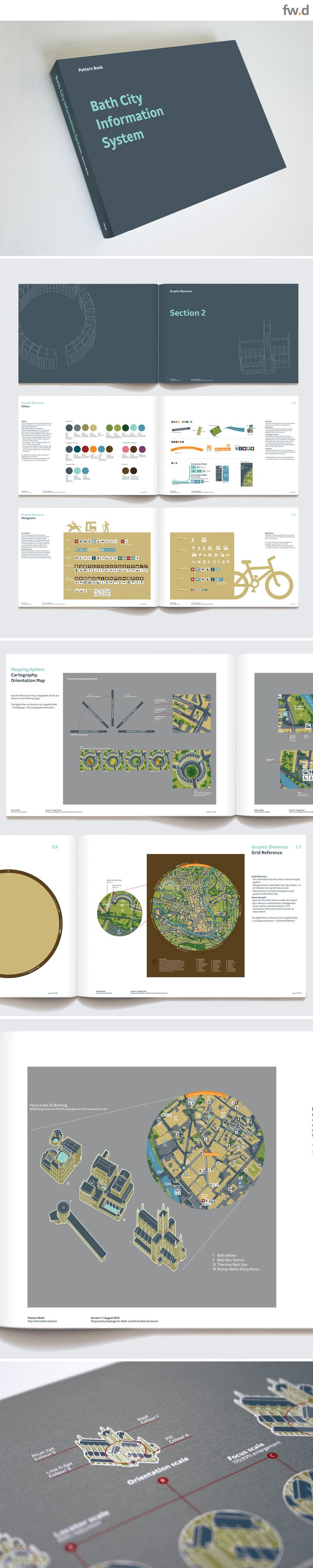 Bath City Information System pattern book. Detailed pedestrian wayfinding & signage design guidelines by fwdesign. www.fwdesign.com  #guidelines #layout #graphics