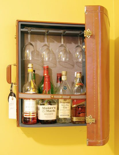 a well stocked bar ideas and inspiration vintage suitcase decor vintage luggage and mini bars. Black Bedroom Furniture Sets. Home Design Ideas