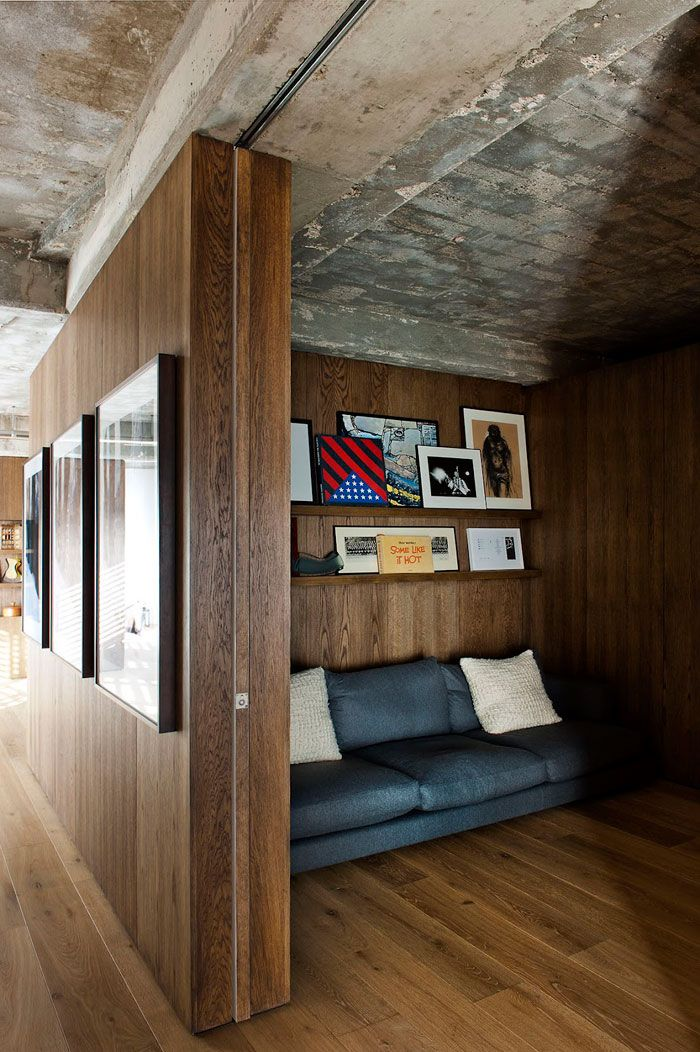 Raw Concrete Industrialism Meets Dark Luxe Timber. Loft Apartment By  William Tozer // London