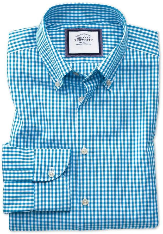01bf3ebc20e Classic Fit Button-Down Business Casual Non-Iron Aqua Blue Cotton Dress  Shirt Single Cuff Size 15.5 33 by Charles Tyrwhitt