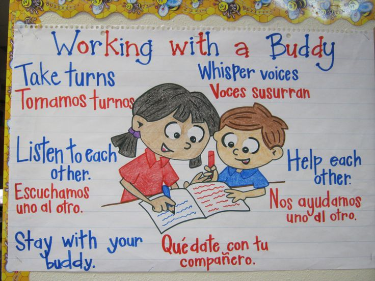 Working with a Buddy Chart Here's a great chart that was created to help support a Dual Language class. The English is written in blue and the Spanish is written in red. I gives the students a guideline for appropriate behaviors when working with a partner.