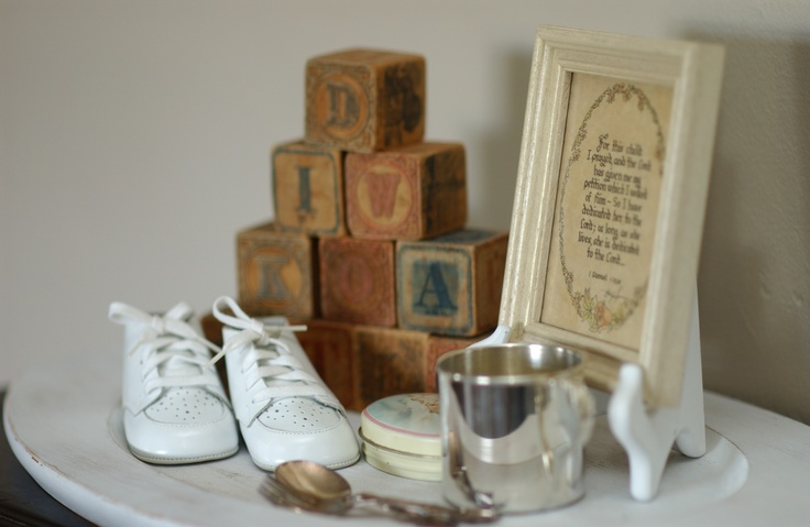 Vintage baby items.  Great baby shower decor.