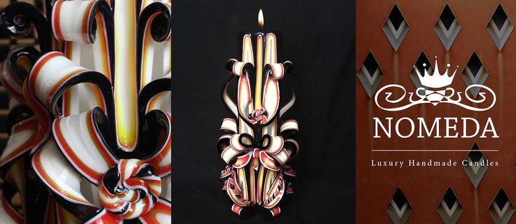 Nomeda Luxury Handmade Carved Black Candles