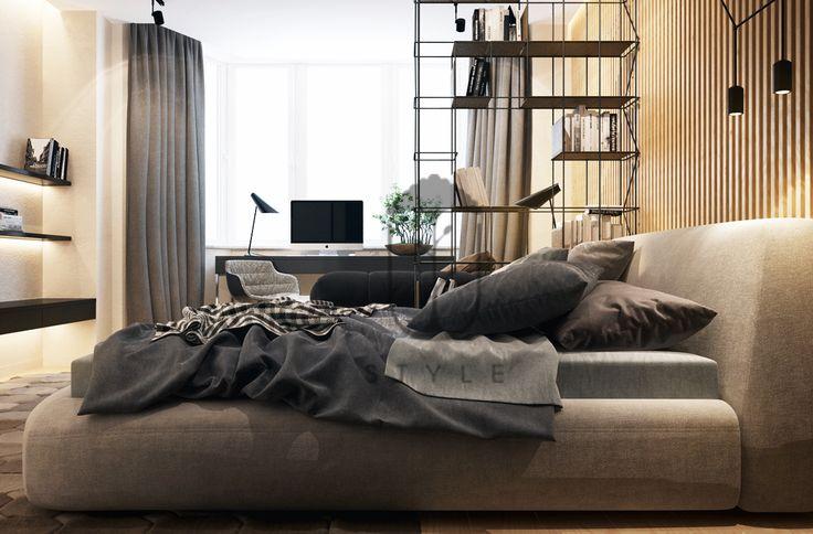 Деревянные панели в интерьере. Центральная стена спальни обшита деревянными панелями. Освещение в интерьере спальни в стиле лофт.