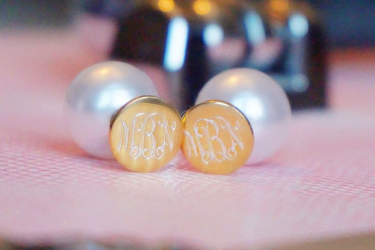 marley lilly monogrammed earrings with pearl backs backings posts + dutch fishtail pony