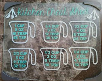Glass cutting board- Christmas gift cook- Gifts for bakers- Gift for mom- Grandma gift- Kitchen cheat sheet- Measuring chart- Housewarming