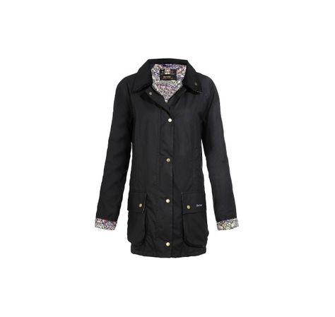 Barbour Liberty Women's Jacket - London can be cold, wet, and windy. Barbour's navy waxed cotton women's jacket is lined with a charming (and very English) Liberty floral print. £229