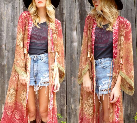 Vtg 70s Gypsy Burnout Watercolor Boho Kimono Duster Robe Jacket One size