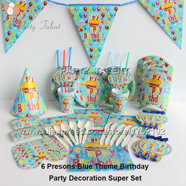 Ну вечеринку поставляет 68 шт. для 6 человек синий тема день рождения ну вечеринку украшения посуда комплект, плита чашки салфетки флаг шляпа соломенная и т . д .